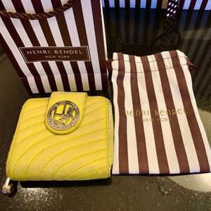 Henri Bendel Brand Chartreuse Leather Wallet